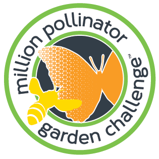 """Graphic image of green circle with an orange butterfly and yellow bee inside and text reading """"million pollinator garden challenge"""""""